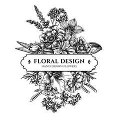 Floral bouquet design with black and white anemone vector