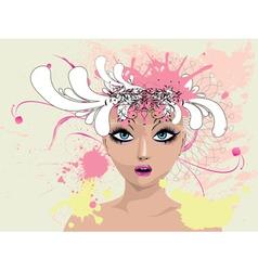 Floral portrait vector image