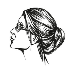 Girl in sunglasses beautiful woman face hand vector