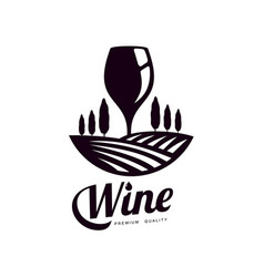 Glass of wine on background of vineyard field icon vector