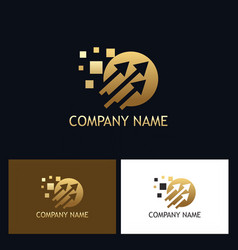 golden arrow technology logo vector image
