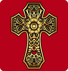 Golden cross ornament vector