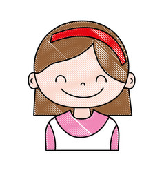 Grated girl with hairstyle and headband design vector