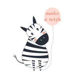 greeting card with cute zebra vector image