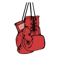 Hand drawn boxing gloves isolated on white vector