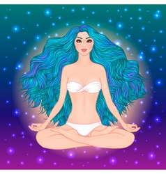 Hand drawn of woman sitting in lotus pose yoga vector image