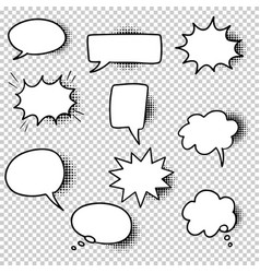 Hand drawn set speech bubbles isolated vector