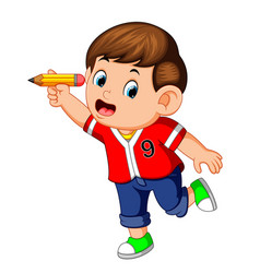 happy boy holding pencil vector image