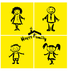 Happy family hand drawing vector