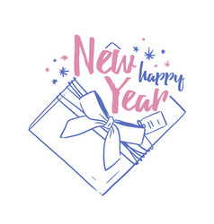 happy new year festive wish handwritten with vector image