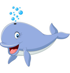 happy whale cartoon vector image