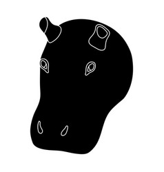 hippopotamus icon in black style isolated on white vector image