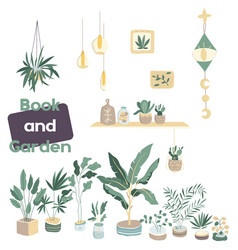 house plants flowerpot isolated objects housepla vector image
