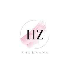 Hz h z watercolor letter logo design vector