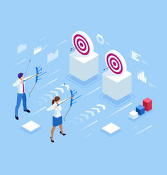 Isometric businessman and businesswoman shooting a vector