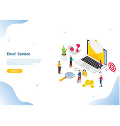 isometric email service or services concept for vector image
