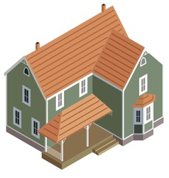 Isometric home in green vector