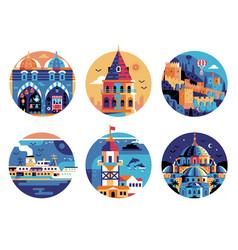 Istanbul travel landmarks circle icons set vector