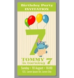 Kids birthday party invitation card vector image