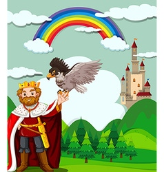King and eagle in the field vector image