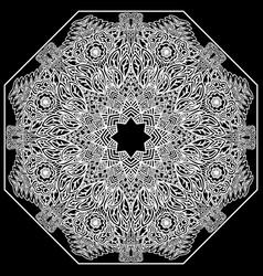 Lacy mandala on a black background mehndi flower vector