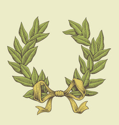 line art laurel wreath vector image