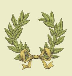 line art laurel wreath vector image