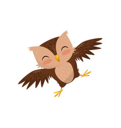 lovely little owlet cute bird cartoon character vector image