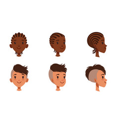 male heads set cheerful boys characters vector image