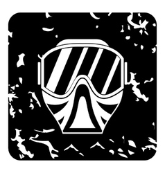 Mask for paintball icon grunge style vector