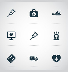 Medicine icons set collection of first-aid vector