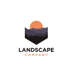 Mountains and forest landscape adventure logo vector