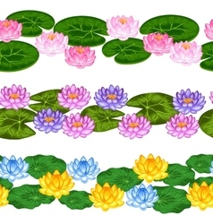 Natural seamless borders with lotus flowers and vector