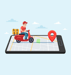 Online food delivery service motorcyclist courier vector