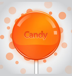 orange candy on bright background lollipop vector image