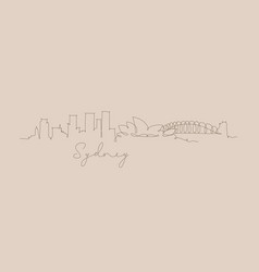 Pen line silhouette sydney beige vector