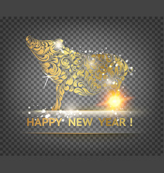 Pig decoration - symbol of 2019 year golden swine vector