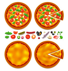 Pizza ingredients constructor top view vector