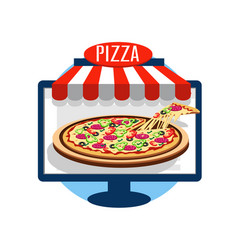 pizza online icon vector image