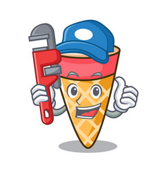 Plumber ice cream tone mascot cartoon vector