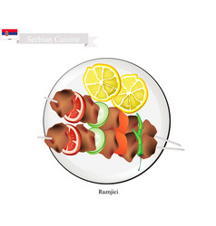 Raznjici one of the most famous food of serbia vector