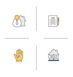 real estate market color icons set vector image