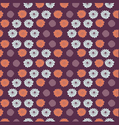 retro flower power pattern purple and blue vector image