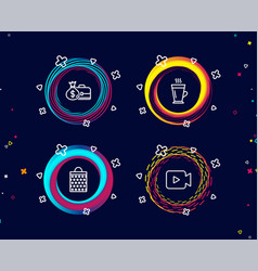 salary shopping bag and latte icons video camera vector image