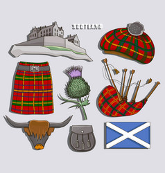 Scotland country set icons vector
