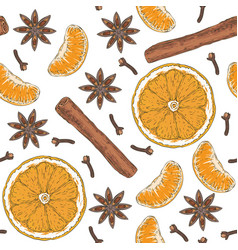 Seamless pattern orange slices tangerine spices vector