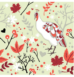 seamless pattern with bird and flowers vector image