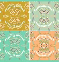 set ethnic seamless pattern aztec geometric vector image