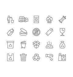 Set garbage line icons waste factory trash vector