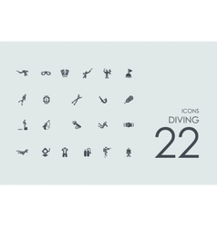 Set of diving icons vector image